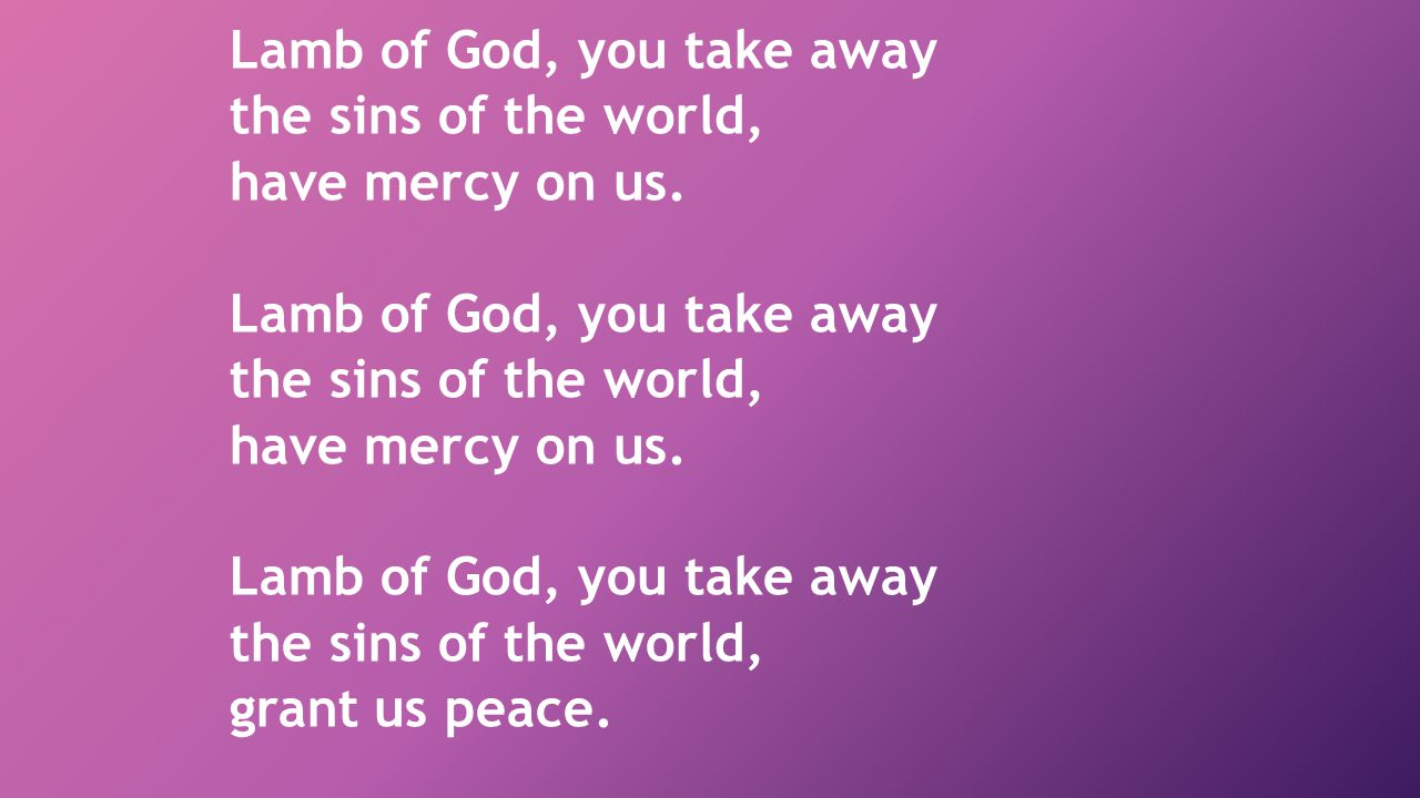 Lamb of God, you take away the sins of the world, have mercy on us