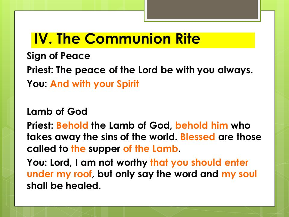 IV. The Communion Rite