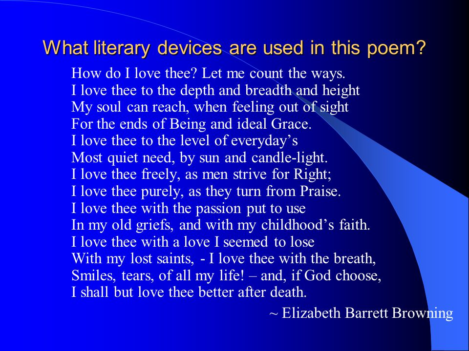 how do i love thee literary devices