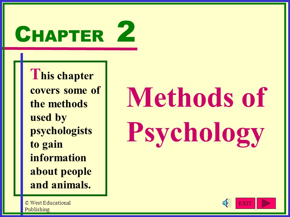 Methods of Psychology CHAPTER 2