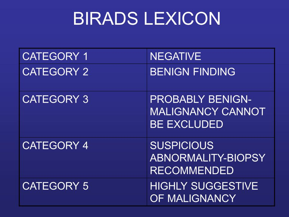 BIRADS LEXICON CATEGORY 1 NEGATIVE CATEGORY 2 BENIGN FINDING