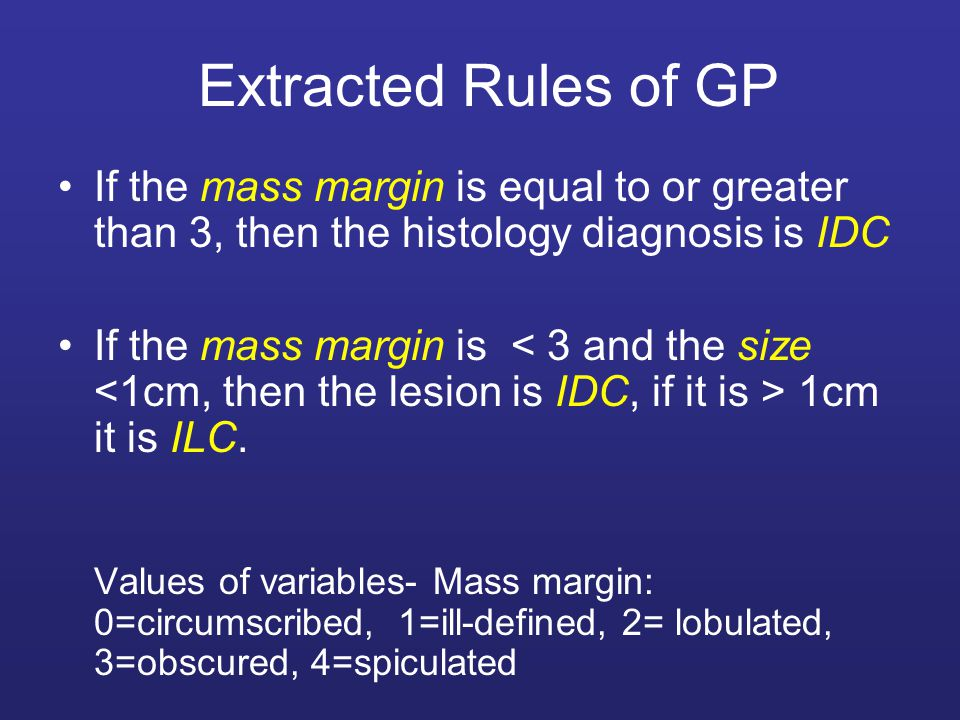 Extracted Rules of GP If the mass margin is equal to or greater than 3, then the histology diagnosis is IDC.
