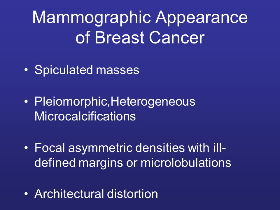 Mammographic Appearance of Breast Cancer
