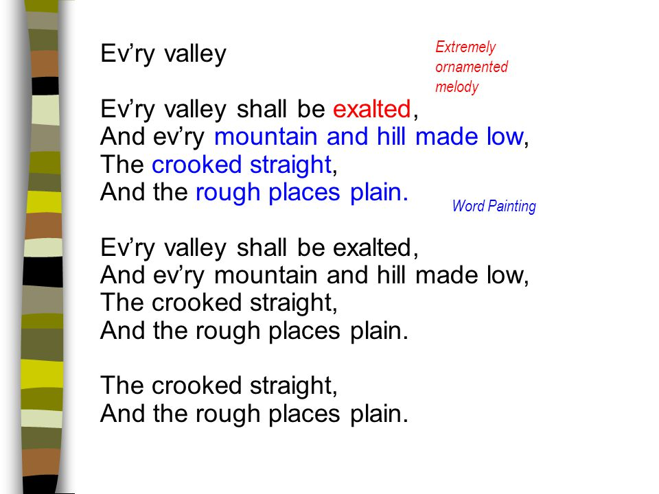 Ev'ry valley shall be exalted, And ev'ry mountain and hill made low,