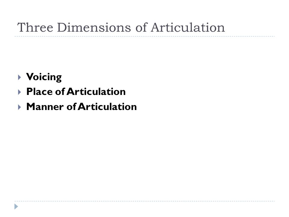 Three Dimensions of Articulation