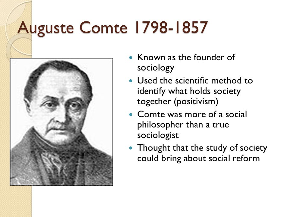 what is the contribution of auguste comte in sociology