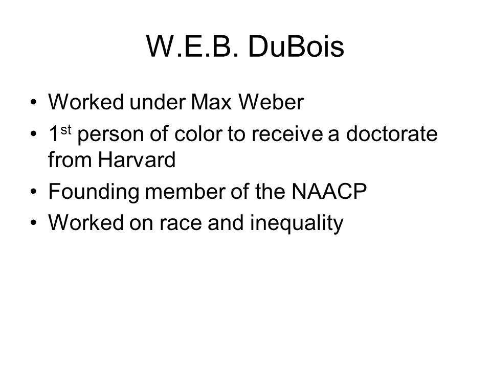 W.E.B. DuBois Worked under Max Weber