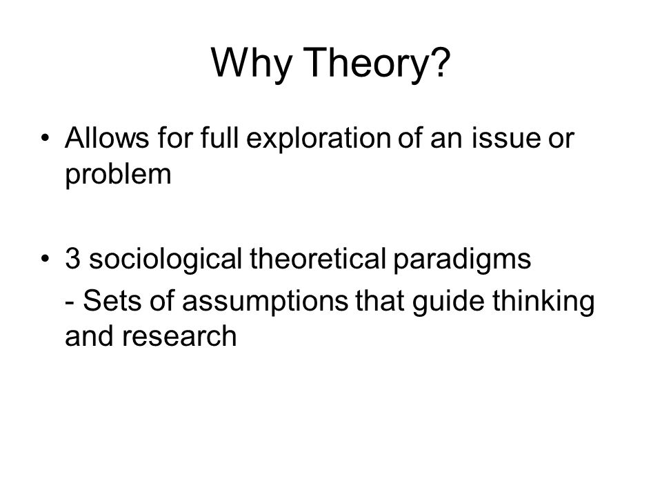 Why Theory Allows for full exploration of an issue or problem