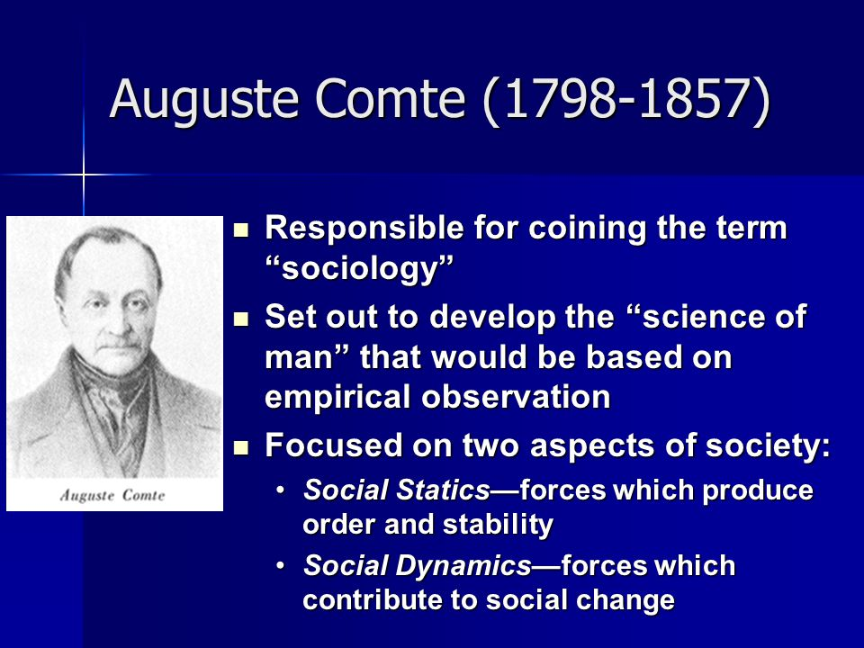 Auguste Comte ( ) Responsible for coining the term sociology