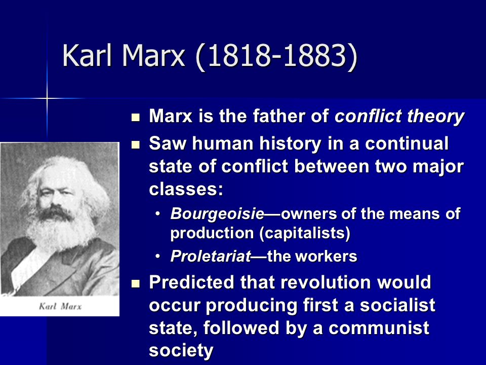 Karl Marx ( ) Marx is the father of conflict theory