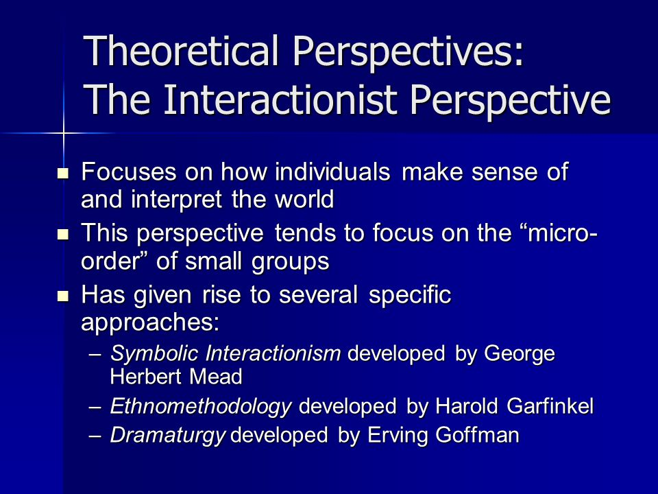 Theoretical Perspectives: The Interactionist Perspective