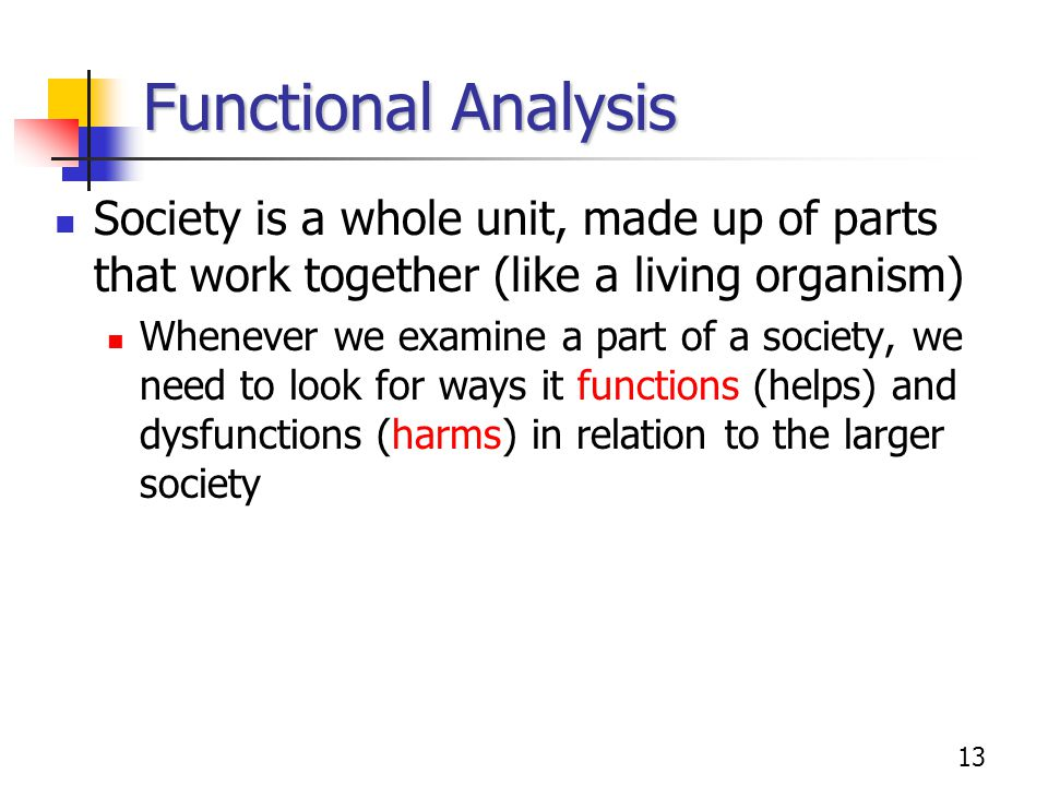Functional Analysis Society is a whole unit, made up of parts that work together (like a living organism)