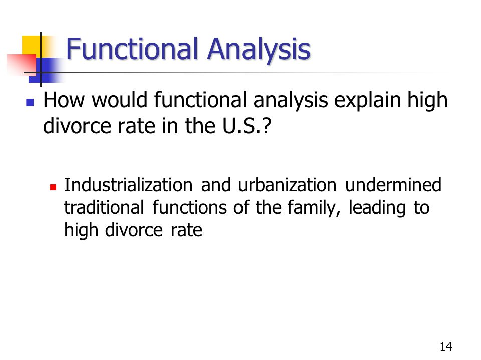 Functional Analysis How would functional analysis explain high divorce rate in the U.S.