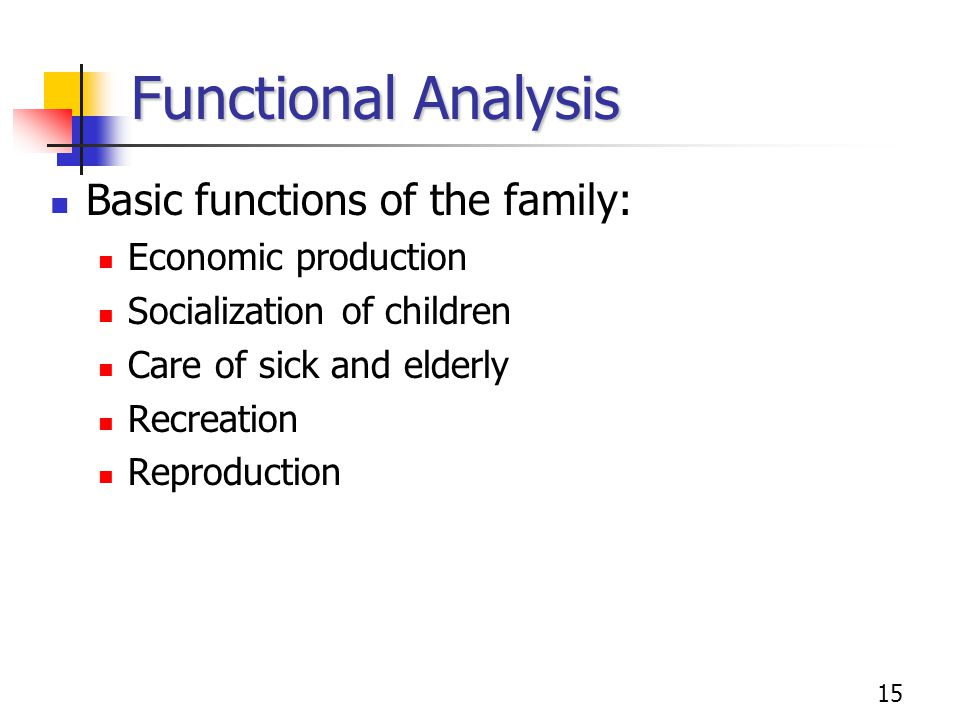 Functional Analysis Basic functions of the family: Economic production