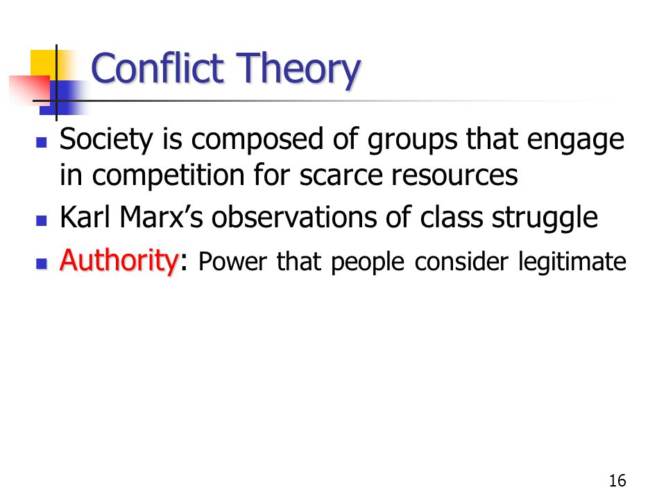 Conflict Theory Society is composed of groups that engage in competition for scarce resources. Karl Marx's observations of class struggle.