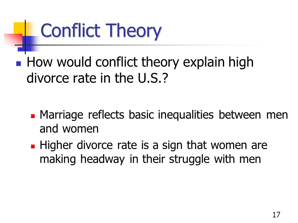 Conflict Theory How would conflict theory explain high divorce rate in the U.S. Marriage reflects basic inequalities between men and women.