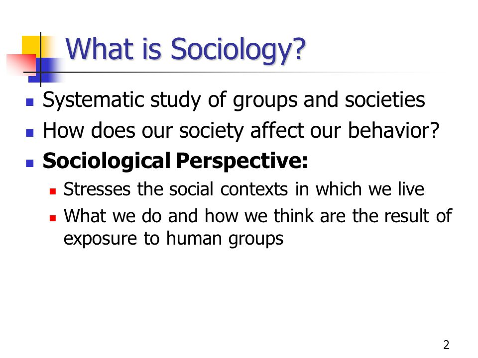What is Sociology Systematic study of groups and societies