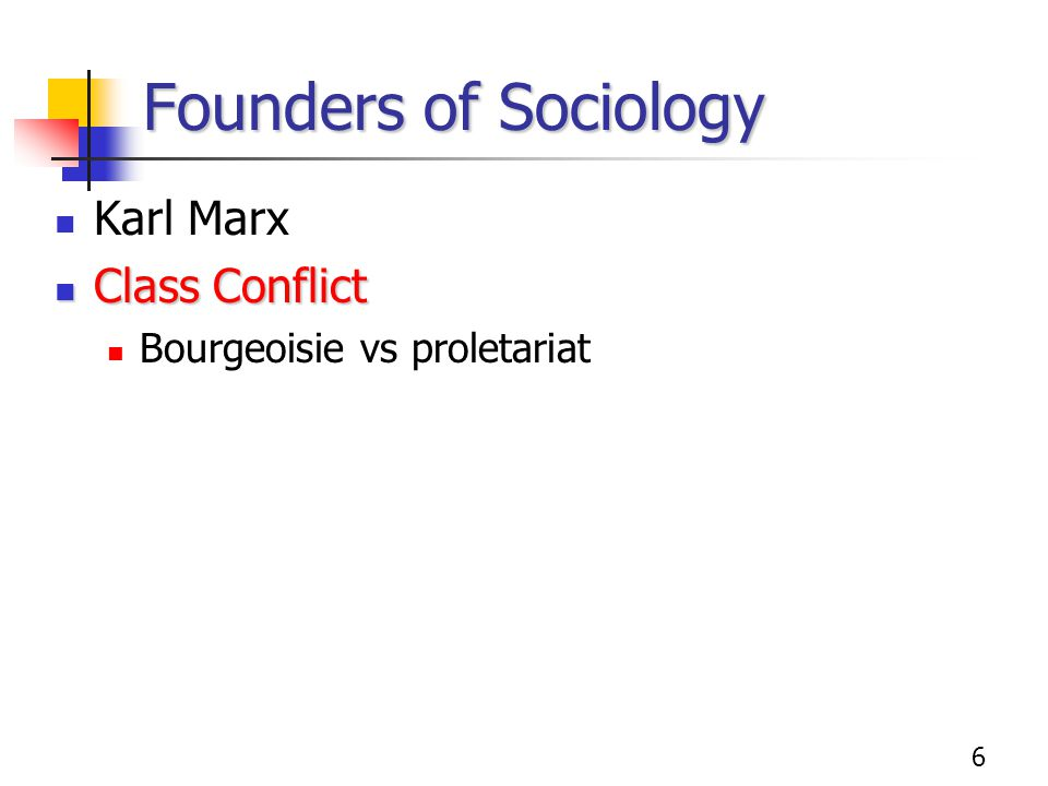 Founders of Sociology Karl Marx Class Conflict