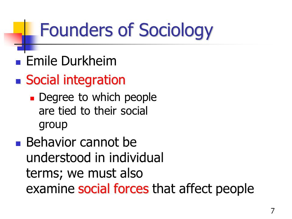 Founders of Sociology Emile Durkheim Social integration