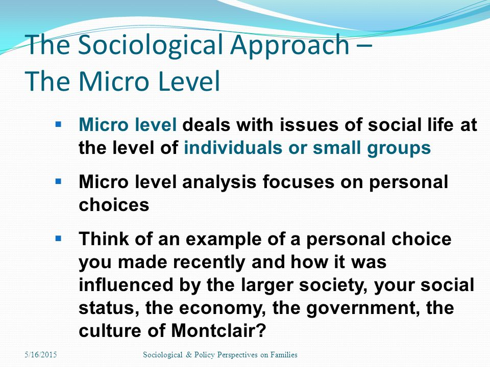 The Sociological Approach – The Micro Level