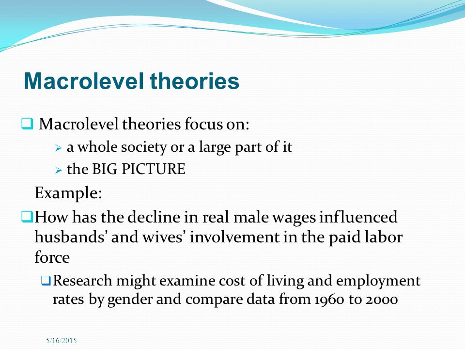 Macrolevel theories Macrolevel theories focus on: