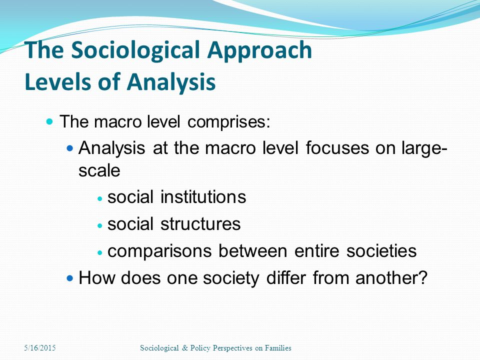 The Sociological Approach Levels of Analysis