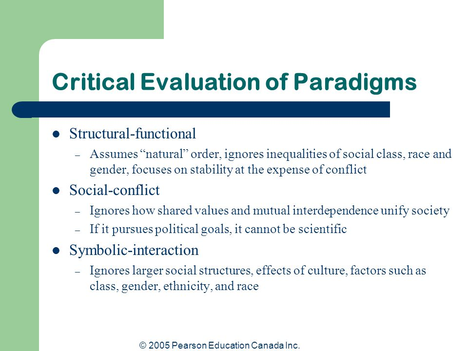 Critical Evaluation of Paradigms