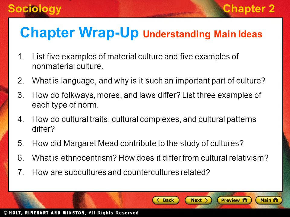 Chapter Wrap-Up Understanding Main Ideas