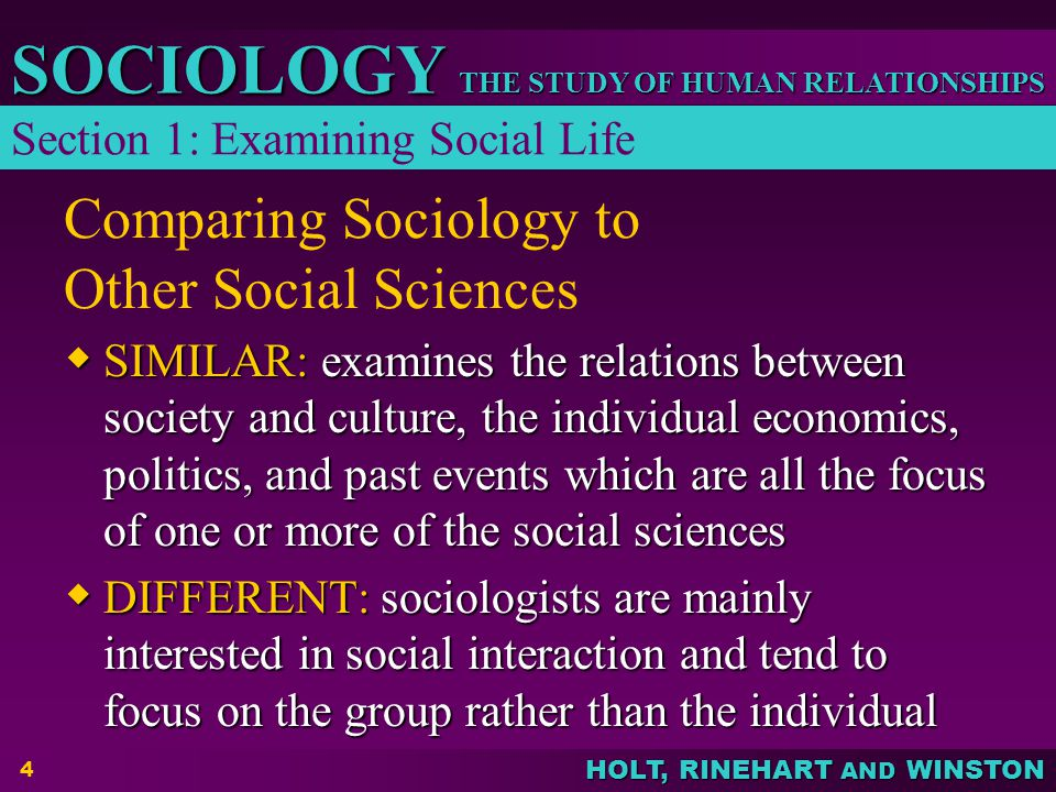 Comparing Sociology to Other Social Sciences