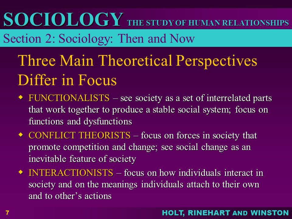 Three Main Theoretical Perspectives Differ in Focus