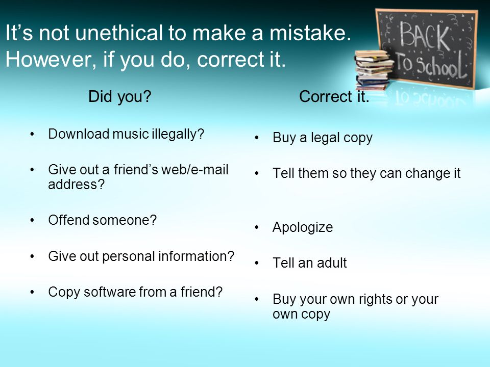 It's not unethical to make a mistake. However, if you do, correct it.