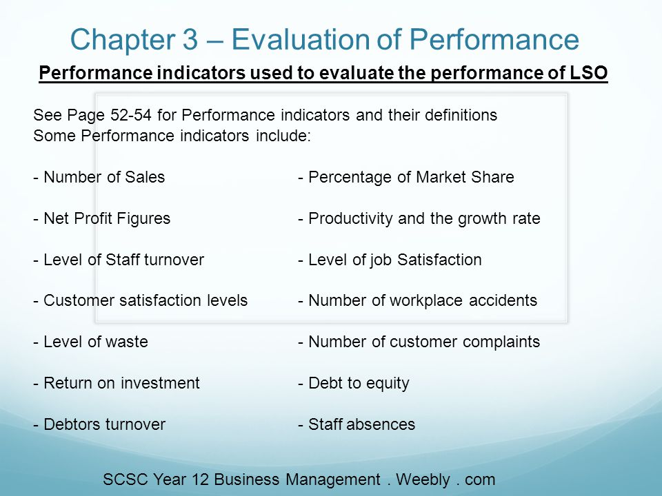 Chapter 3 – Evaluation of Performance