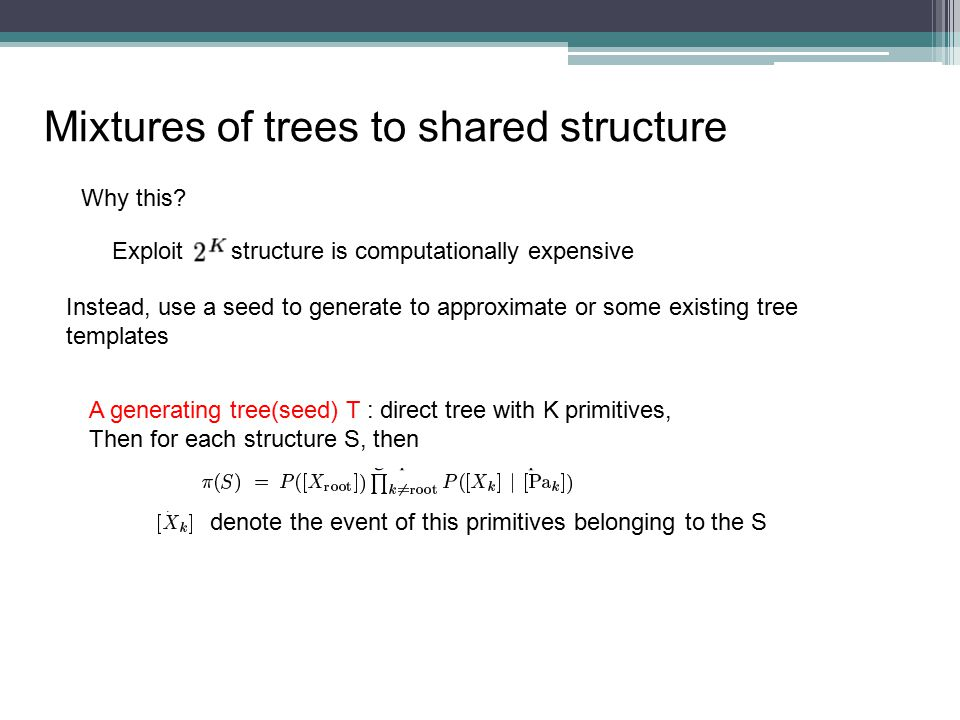 Mixtures of trees to shared structure