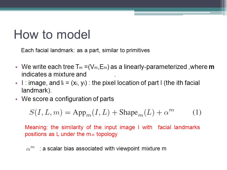 How to model Each facial landmark: as a part, similar to primitives.