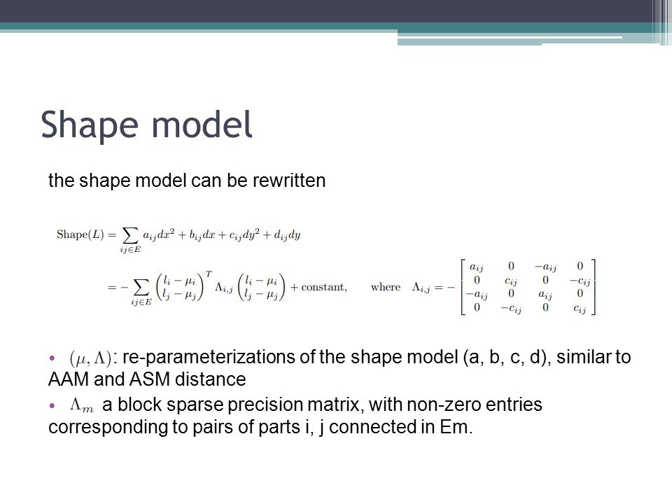 Shape model the shape model can be rewritten