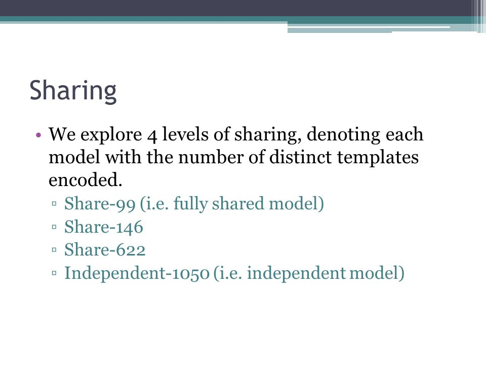 Sharing We explore 4 levels of sharing, denoting each model with the number of distinct templates encoded.