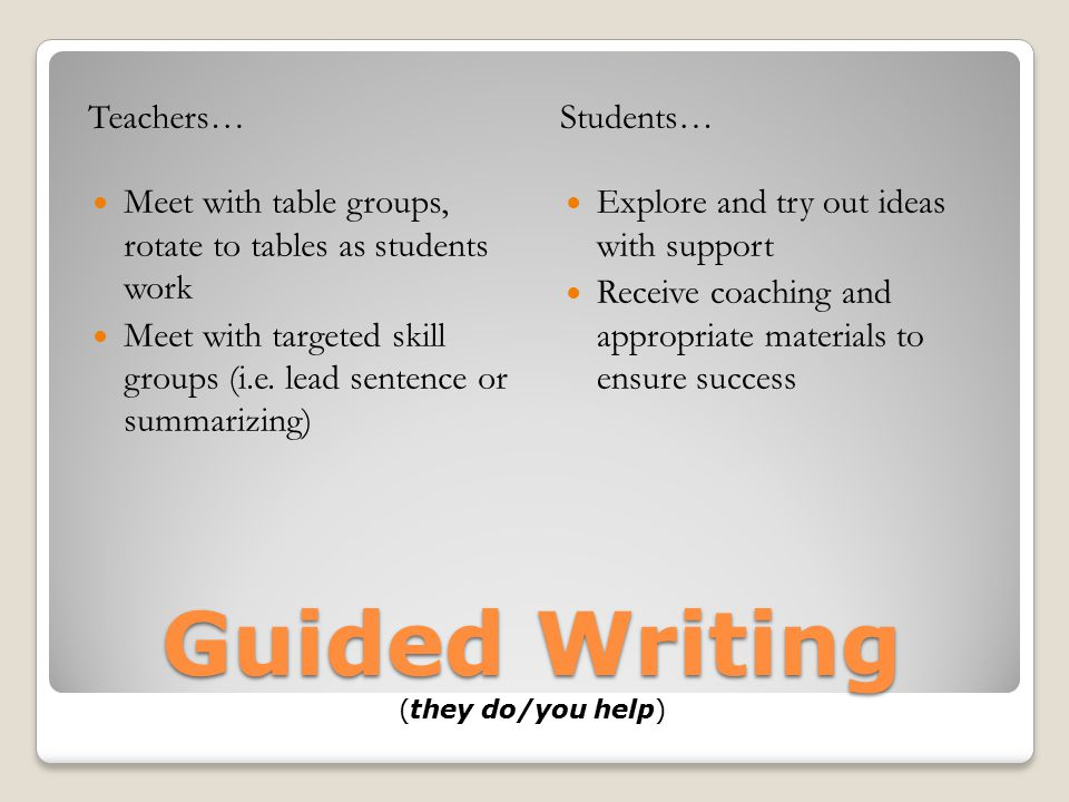 Guided Writing (they do/you help)
