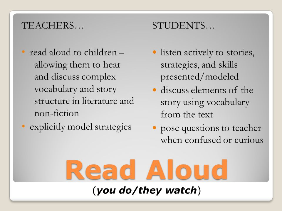 Read Aloud (you do/they watch)