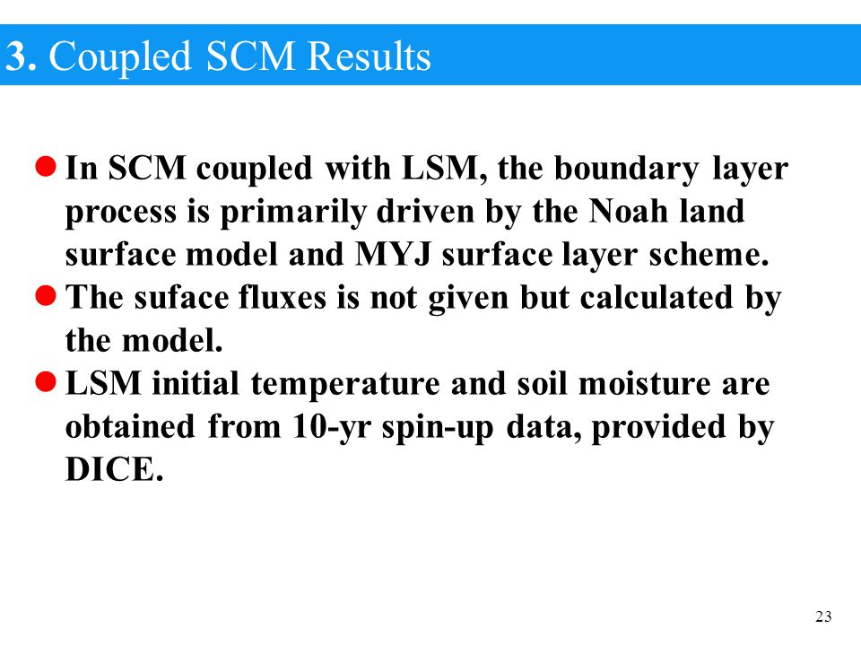 3. Coupled SCM Results