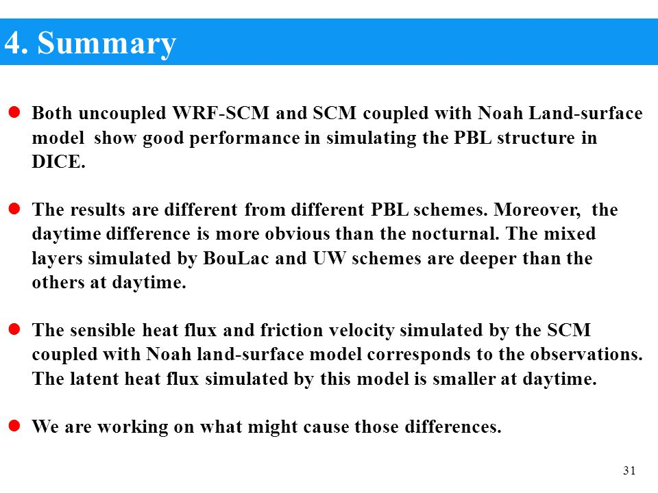 4. Summary Both uncoupled WRF-SCM and SCM coupled with Noah Land-surface model show good performance in simulating the PBL structure in DICE.