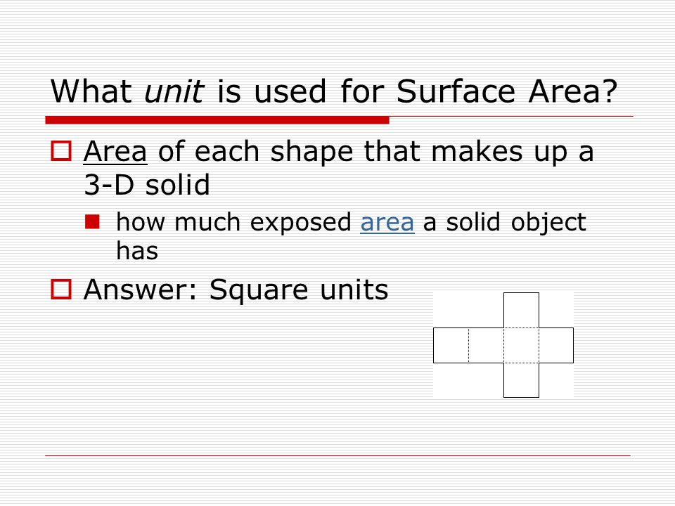 What unit is used for Surface Area