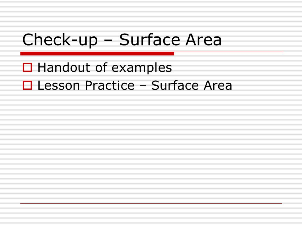 Check-up – Surface Area
