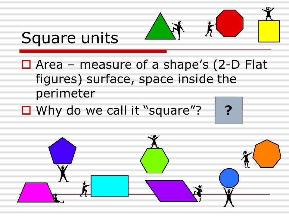 Square units Area – measure of a shape's (2-D Flat figures) surface, space inside the perimeter. Why do we call it square
