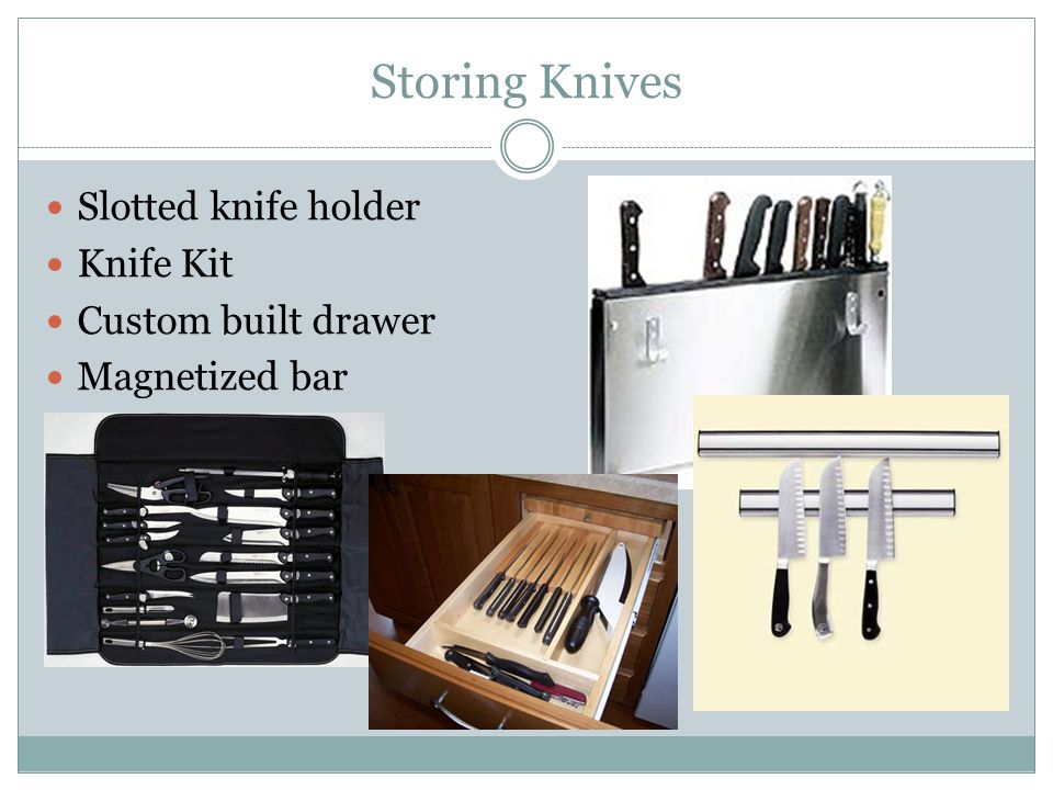 Storing Knives Slotted knife holder Knife Kit Custom built drawer