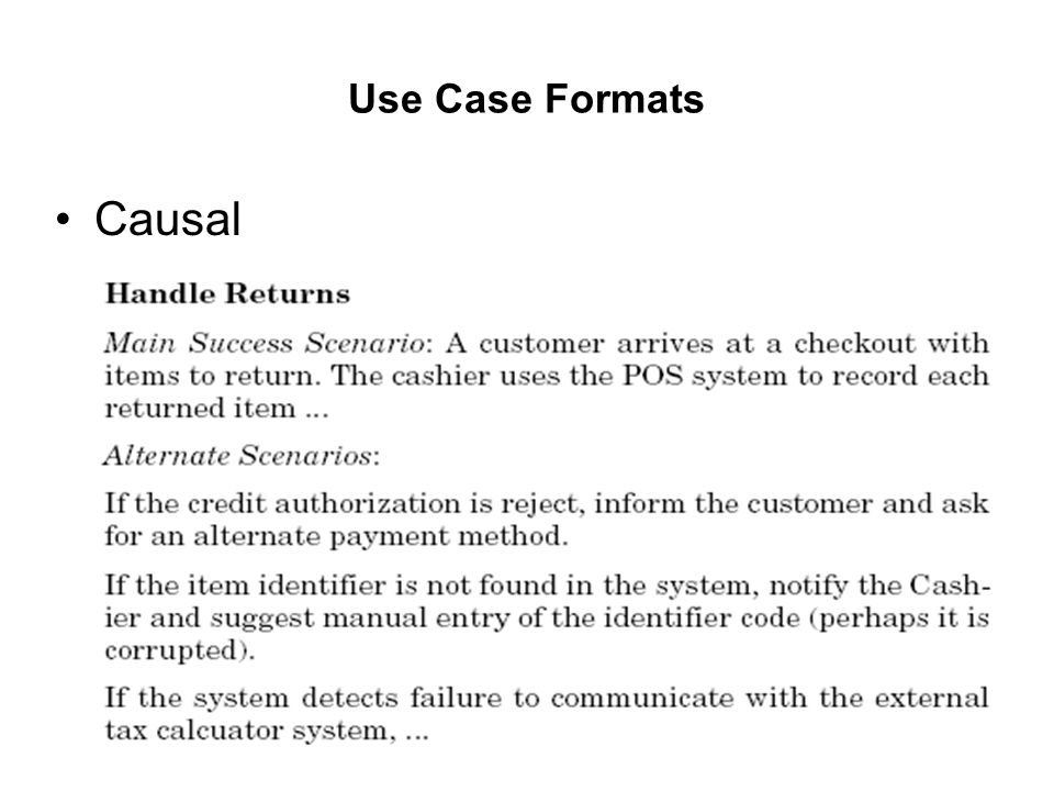Use Case Formats Causal