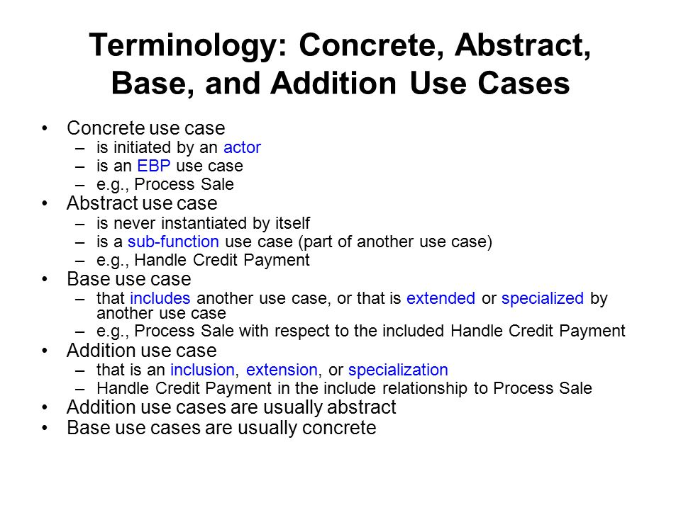 Terminology: Concrete, Abstract, Base, and Addition Use Cases