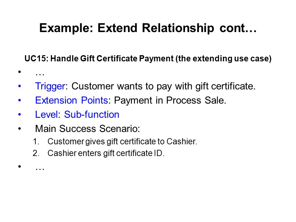 Example: Extend Relationship cont…