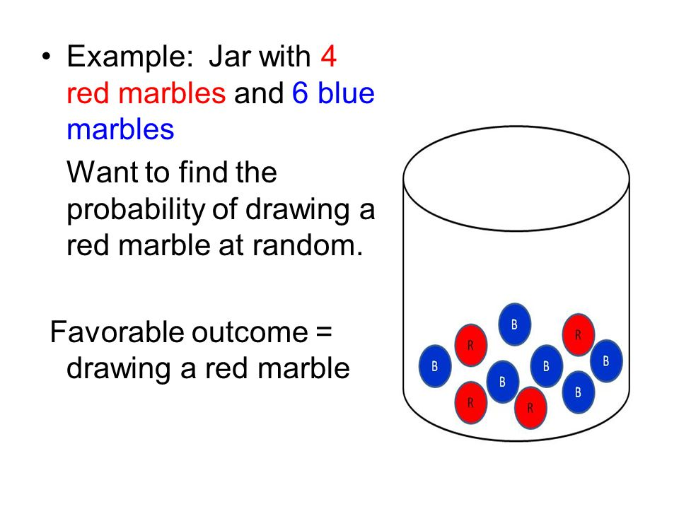 Example: Jar with 4 red marbles and 6 blue marbles