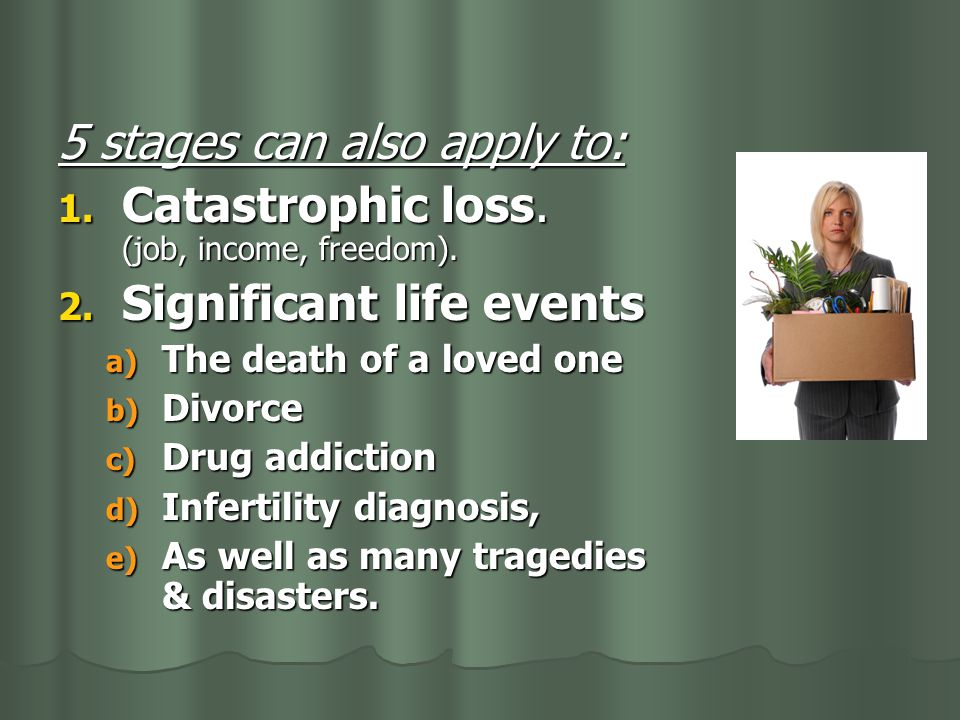 5 stages can also apply to: Catastrophic loss. (job, income, freedom).