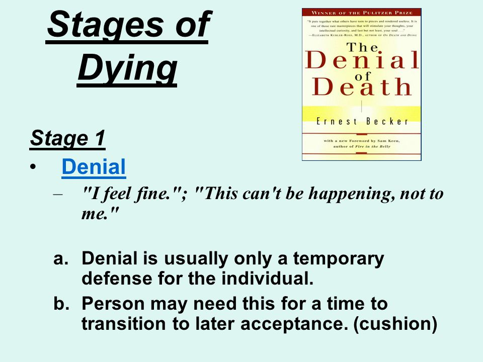 Stages of Dying Stage 1 Denial